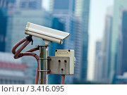 Камера видеонаблюдения в Сингапуре. Стоковое фото, фотограф Дмитрий Рухленко / Фотобанк Лори