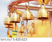 Купить «Золотые колокольчики в храме Ват Сакет Ратча Вора Маха Вихан — буддийский храм в Бангкоке, Таиланд», фото № 3420623, снято 29 февраля 2020 г. (c) Виктор Савушкин / Фотобанк Лори
