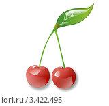 Красные вишни. Стоковая иллюстрация, иллюстратор Илья Афанасьев / Фотобанк Лори
