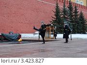 Купить «Смена караула у Могилы Неизвестного солдата. Кремль. Москва», эксклюзивное фото № 3423827, снято 9 апреля 2012 г. (c) lana1501 / Фотобанк Лори