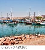 Яхты и парусники на причале в израильском городе Эйлат на берегу Красного моря (2011 год). Стоковое фото, фотограф Олег Скударнов / Фотобанк Лори