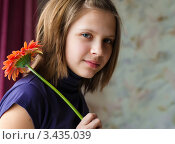 Купить «Портрет девочки  с красным цветком гербера», эксклюзивное фото № 3435039, снято 12 апреля 2012 г. (c) Игорь Низов / Фотобанк Лори
