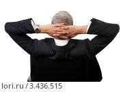 Купить «Вид со спины на седого мужчину в костюме с руками, заложенными за голову», фото № 3436515, снято 13 ноября 2010 г. (c) Андрей Попов / Фотобанк Лори