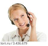 Купить «Девушка - оператор колл-центра», фото № 3436679, снято 23 января 2011 г. (c) Андрей Попов / Фотобанк Лори