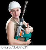 Купить «Мужчина-строитель в белой каске держит перфоратор на черном фоне», фото № 3437631, снято 4 октября 2009 г. (c) Куликов Константин / Фотобанк Лори