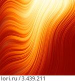 Абстрактный фон со светящимися красно-оранжевыми волнами. Стоковая иллюстрация, иллюстратор Владимир / Фотобанк Лори