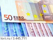Купить «Фон из купюр евро», фото № 3445711, снято 8 ноября 2011 г. (c) ElenArt / Фотобанк Лори