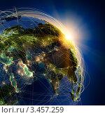 Купить «Сетка воздушных коридоров над центральном Евразии», иллюстрация № 3457259 (c) Антон Балаж / Фотобанк Лори