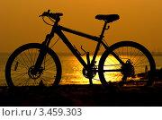 Силуэт горного велосипеда на фоне моря. Стоковое фото, фотограф Владимир Логутенко / Фотобанк Лори