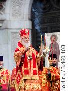 Купить «Патриарх Кирилл служит молебен в защиту веры и поруганных святынь в храме Христа Спасителя, Москва, Россия», эксклюзивное фото № 3460103, снято 22 апреля 2012 г. (c) Николай Винокуров / Фотобанк Лори