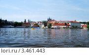 Чехия, Прага, вид с реки Влтава на район Мала-Страна, Пражский Град (2008 год). Редакционное фото, фотограф Алла Корниенко / Фотобанк Лори