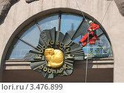 Промышленный альпинист моет стекло в Московском зоопарке (2012 год). Редакционное фото, фотограф Валерия Попова / Фотобанк Лори
