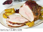 Купить «Окорок, запечённый с горчицей и клюквенным соусом», эксклюзивное фото № 3481539, снято 11 ноября 2011 г. (c) Александр Курлович / Фотобанк Лори