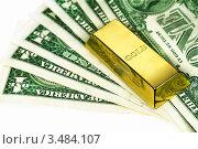 Купить «Слиток золота на пачке денег», фото № 3484107, снято 4 марта 2011 г. (c) ElenArt / Фотобанк Лори