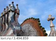 Купить «Фрагмент декорированных труб дома Casa Batllo в Барселоне. Архитектор Антонио Гауди», фото № 3494859, снято 22 ноября 2011 г. (c) Victoria Demidova / Фотобанк Лори