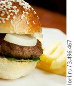 Купить «Гамбургер с картошкой фри», фото № 3496467, снято 26 марта 2012 г. (c) Александр Fanfo / Фотобанк Лори