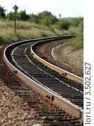 Железная дорога уходящая вдаль. Стоковое фото, фотограф Хромушин Тарас / Фотобанк Лори