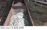 Купить «Вагоны с углем на железнодорожных путях», видеоролик № 3505699, снято 6 июня 2008 г. (c) Losevsky Pavel / Фотобанк Лори