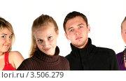 Купить «Улыбающиеся люди в ряд», видеоролик № 3506279, снято 11 мая 2008 г. (c) Losevsky Pavel / Фотобанк Лори