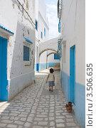Маленькая девочка на узкой живописной улочке в городе Бизерте. Тунис (2012 год). Стоковое фото, фотограф Владимир Чинин / Фотобанк Лори