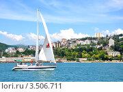 Купить «Регата яхт открытого моря (круизных яхт) на фоне побережья Сочи», фото № 3506711, снято 28 мая 2011 г. (c) Анна Мартынова / Фотобанк Лори