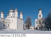 Купить «Зима в Свято-Юрьеве монастыре. Великий Новгород», фото № 3513275, снято 12 февраля 2012 г. (c) Виктор Карасев / Фотобанк Лори