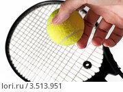 Ракетка и теннисный мячик в руке на белом фоне. Стоковое фото, фотограф Хромушин Тарас / Фотобанк Лори