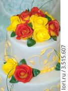 Купить «Красные и желтые кремовые розы на торте», фото № 3515607, снято 21 апреля 2012 г. (c) BestPhotoStudio / Фотобанк Лори
