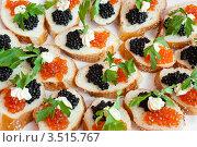 Купить «Бутерброды с икрой», фото № 3515767, снято 28 мая 2010 г. (c) Александр Подшивалов / Фотобанк Лори