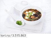Купить «Мисо суп с грибами шиитаки и зеленым луком», фото № 3515863, снято 12 мая 2012 г. (c) Лисовская Наталья / Фотобанк Лори
