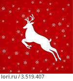 Белый олень на красном фоне. Стоковая иллюстрация, иллюстратор Dvarg / Фотобанк Лори
