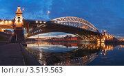 Купить «Панорама Андреевского железнодорожного моста в Москве с Андреевской набережной», эксклюзивное фото № 3519563, снято 20 декабря 2008 г. (c) Павел Широков / Фотобанк Лори