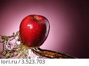 Купить «Яблоко и всплеск сока на красном фоне», фото № 3523703, снято 25 мая 2011 г. (c) Чепко Данил / Фотобанк Лори