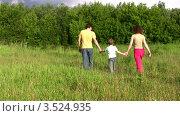 Купить «Родители с сыном гуляют в летнем парке», видеоролик № 3524935, снято 2 июля 2008 г. (c) Losevsky Pavel / Фотобанк Лори