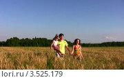 Купить «Семья с маленькой дочкой гуляет по полю на закате», видеоролик № 3525179, снято 1 сентября 2008 г. (c) Losevsky Pavel / Фотобанк Лори