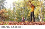 Купить «Мать с ребенком раскидывают кленовые листья в осеннем парке», видеоролик № 3528851, снято 7 октября 2008 г. (c) Losevsky Pavel / Фотобанк Лори