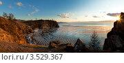Купить «Байкал. Остров Ольхон. Поселок Хужир. Мыс Татайский. Майское закатное солнце окрасило скалы в терракотовый цвет», фото № 3529367, снято 18 мая 2012 г. (c) Виктория Катьянова / Фотобанк Лори