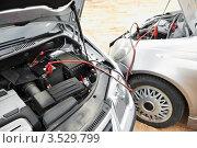 Купить «Аккумуляторы двух автомобилей соединены проводами», фото № 3529799, снято 13 апреля 2012 г. (c) Дмитрий Калиновский / Фотобанк Лори