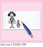 Купить «Рисунок карандашом в блокноте, розовый фон», иллюстрация № 3530139 (c) Dvarg / Фотобанк Лори