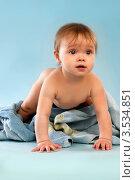 Забавный ребенок в полотенце. Стоковое фото, фотограф Емельянова Карина / Фотобанк Лори