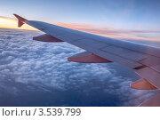 Крыло летящего самолёта, вид из иллюминатора, вечер. Стоковое фото, фотограф Давид Мзареулян / Фотобанк Лори