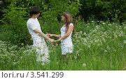 Купить «Мужчина целует девушку в парке», видеоролик № 3541299, снято 9 августа 2009 г. (c) Losevsky Pavel / Фотобанк Лори