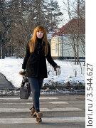 Купить «Девушка гуляет в парке зимой», фото № 3544627, снято 24 марта 2012 г. (c) Зореслава / Фотобанк Лори