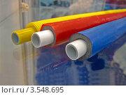 Купить «Несколько пластиковых труб для прокладки кабеля», фото № 3548695, снято 17 мая 2012 г. (c) FMRU / Фотобанк Лори