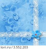 Голубая открытка с кружевом и орхидеями. Стоковая иллюстрация, иллюстратор Lora Liu / Фотобанк Лори