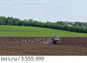 Купить «Трактор пашет землю на фоне церкви», фото № 3555999, снято 26 мая 2012 г. (c) Антон Недошивин / Фотобанк Лори
