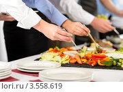 Бизнесмены у шведского стола. Стоковое фото, фотограф CandyBox Images / Фотобанк Лори