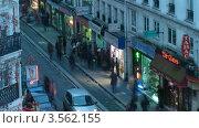 Купить «Узкая улочка в Париже вечером, Франция, Таймлапс», видеоролик № 3562155, снято 9 января 2010 г. (c) Losevsky Pavel / Фотобанк Лори