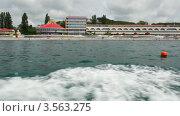 Купить «Вид на курорт с моря», видеоролик № 3563275, снято 23 января 2010 г. (c) Losevsky Pavel / Фотобанк Лори