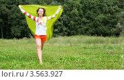 Купить «Радостная женщина с желтым развевающимся полотном бежит в парке», видеоролик № 3563927, снято 3 февраля 2010 г. (c) Losevsky Pavel / Фотобанк Лори